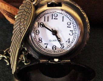 Golden Morsel, Harry Potter, watch necklace, golden Snitch necklace, clock