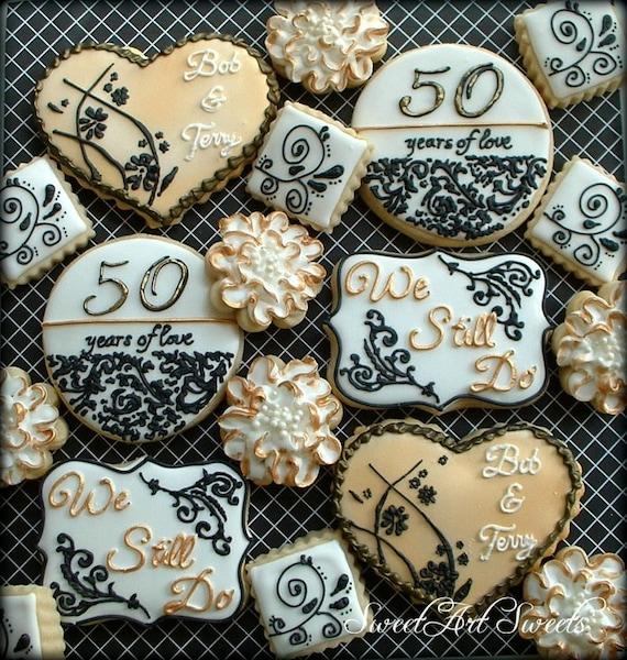 Anniversary Cookies 1 Dozen 50th Wedding Anniversary Cookies