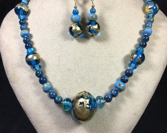 """Gorgeous 22"""" necklace consisting of various Sheila Checkoway handmade Lampwork Glass Beads (#2482)"""