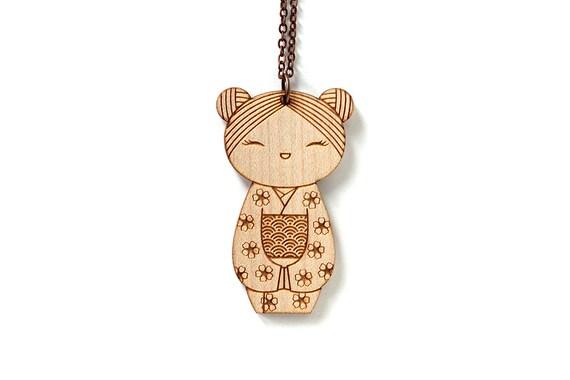 Kokeshi pendant - Japanese doll necklace - cute wooden jewelry - illustrated - kawaii jewellery - lasercut wood - seikaiha - sakura