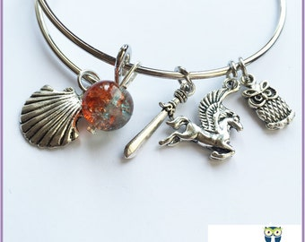 Greek Mythology Bangle Bracelet, Greek Goddess Jewelry, Greek Gods Bangle Charm Bracelet, Book Lover Gift, Hecate Jewelry, Heroes of Olympus