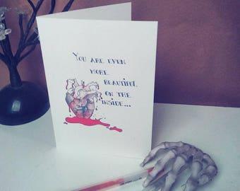 Bloody Heart Valentine Blank Greeting Card