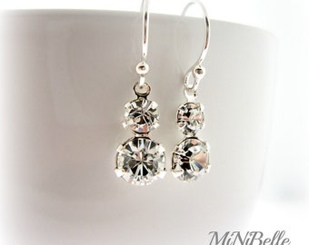 Bridal Earrings. Swarovski Bridal Earrings. Crystal Earrings. Double Stone Bridal Earrings
