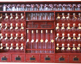 """Spice rack 40 spice red patina """"the small grocery store bubbles of spices"""""""