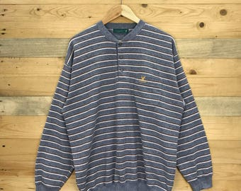 Rare! Vintage Lyle & Scott Sweatshirt Striped Design Size XL