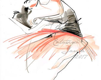 Original Ballet Dance Drawing – Watercolor,pencil and Ink on Paper