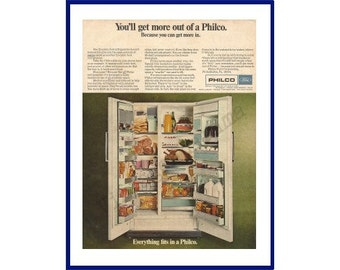 PHILCO REGRIGERATOR Original 1967 Vintage Color Print Ad - Open Doors of a Side by Side White Freezer / Refrigerator Full of Food