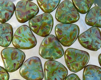 18x17mm Turquoise Opaline Picasso Czech Textured Glass Heart Beads - Qty 4 (BS388)
