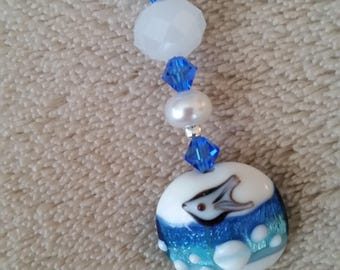Scissor Fob - Ocean/Dolphin lampworked bead with pearls and Swarovski crystals