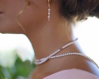 beach wedding pearl crystal earrings