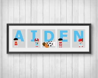 Sports Decor - Personalized Name Print - Boys Room Decor - Kids Birthday Gift - Sports Room Art - Sports Nursery - Individual 4x6, 5x7, 8x10