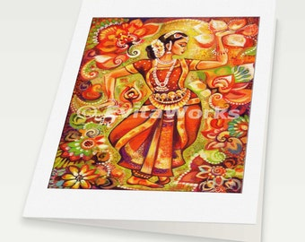 beautiful Indian dancer painting Indian decor feminine beauty bollywood dance, Indian woman card, woman card, 6x8