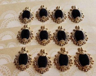 """Gold and Black Velvet Cabochons - Costume Embellishment Mixed Media - 1 1/2"""" Tall - 1 1/4"""" Wide - Set of 12 Pieces - DESTASH SALE"""