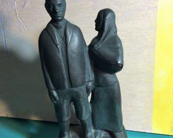 """Art Sculpture figurine Chalk Art-A man and woman Vintage Sculpture-8"""" x 3.5""""- Chalk art-A man and woman Sculpture/Vintage Chalk/ Plaster art"""