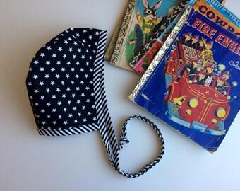 Cute  baby boys bonnet, handmade baby boy hat, 3-6 months, practical baby hat,vintage style boys bonnet, pilot hat .
