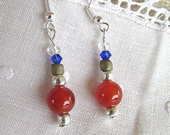 Carnelian earrings beaded earrings dangle earrings hippie earrings agate earrings boho earrings gemstone earrings gemstone jewelry gift.