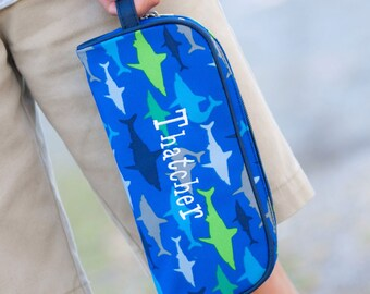 Monogrammed Pencil Pouch-Personalized Pencil Pouch-Shark Pencil Pouch-JawSome Pencil Pouch-Boy's Pencil Pouch-Preppy Pencil Pouch-JawSome