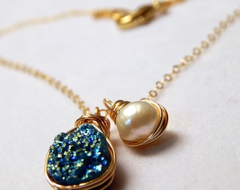 Blue Belle   Wire Wrapped Titanium Druzy and Freshwater Pearl Necklace