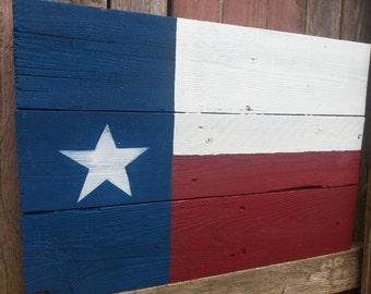 Rustic Barnwood Texas Flag