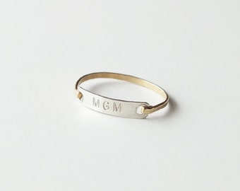 Monogram Ring - Personalized Gold Ring - Sweetheart Ring - Wedding Band - Gold Bar Ring - ID Ring