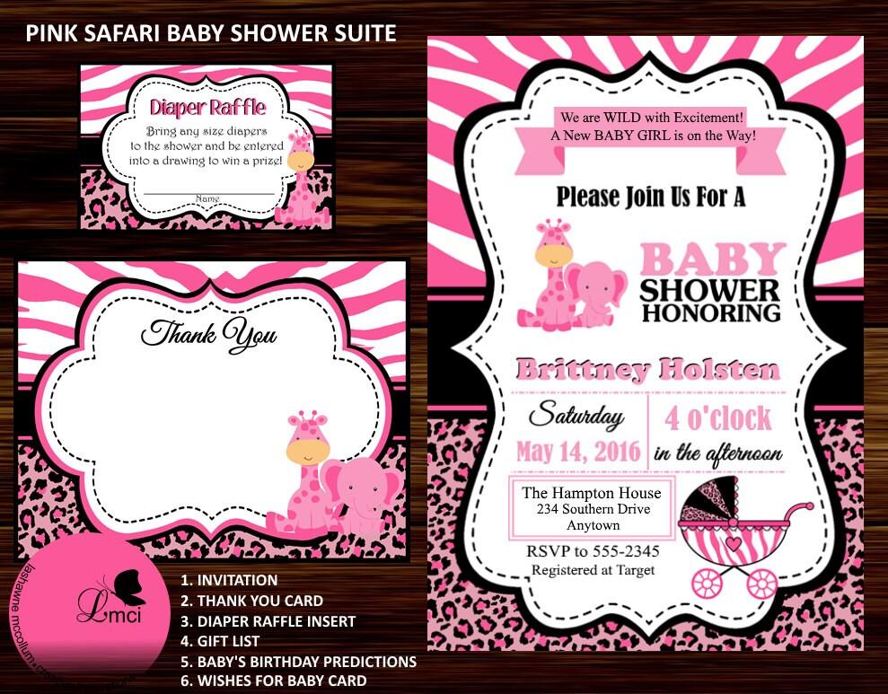 Pink Safari Baby Shower Invitation Thank You Card Diaper