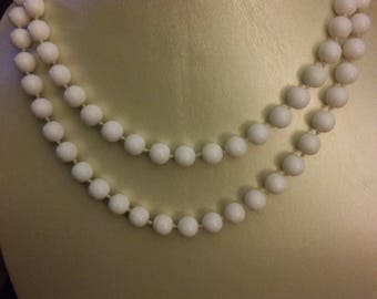 """Knotted White Bead Necklace - 40"""""""