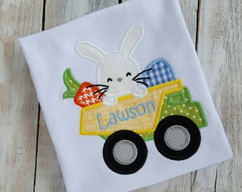 Personalized Easter Shirt, Sample Sale, Dump Truck shirt, Easter Bunny, egg hunt shirt, boys shirt, sibling shirt, baby shirt, first Easter