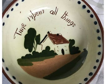 Vintage Watcombe Devon Motto Ware Bowl, 'Time Ripens All Things', Made in England
