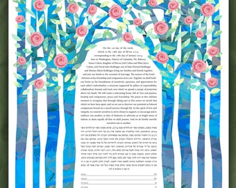Ketubah - Summer Chuppah with Pink flowers