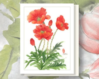 "Watercolor Chinese Brush Painting Card: ""Poppies"" for Mom"