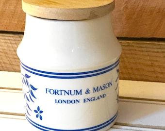 Blue and White Ceramic Crock, Storage Jar w/ Wooden Lid, Fortum & Mason, London England,  Salt/Jam Crock, Aviemore Pottery, Scotland