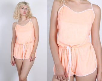 70s Terrycloth Romper // Vintage Peach Playsuit Shorts Spagetti Strap Micro Mini - Extra Large XXL