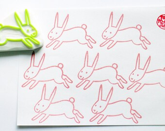 rabbit rubber stamp | woodland animal stamp | diy easter baby shower card making | craft gift for kids | hand carved stamp by talktothesun