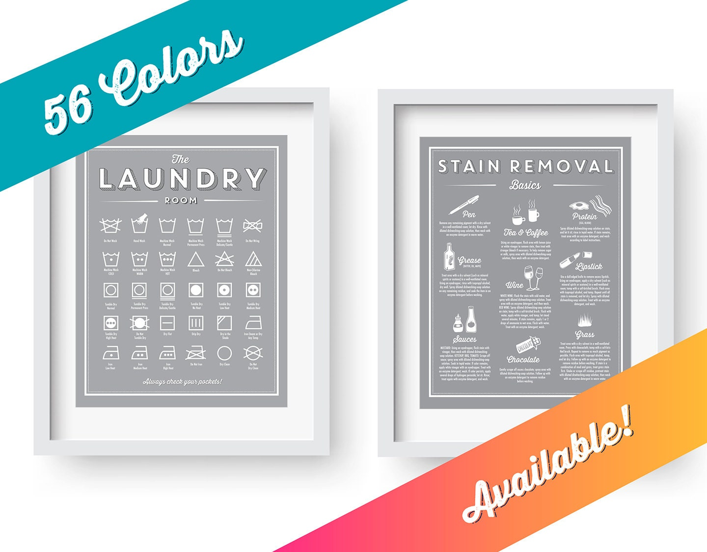Laundry Room Decor SET Symbols And Stain Removal Prints