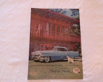 1954 Classic Car AD Blue CADILLAC Coupe De Ville , Body by Fisher - Dog Barking ;  Domino Pure Cane Sugar Granulated Stay Slim Energy Lift