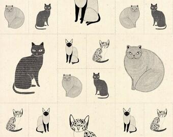 Catnip Small Cats Galore Panel in Natural, Gingiber, 100% Cotton, Moda Fabrics, 48231 12