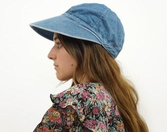Denim 90s Boho Visor Sun Hat, 90s Denim Sunbonnet Hat, Vintage Wide Brim Sun Hat, One Size Fits Most