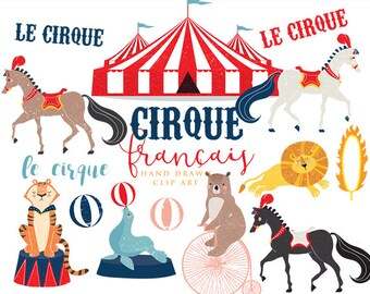 Hand drawn circus clip art - french circus clipart lion tiger seal horses bear whimsical cirque francais for personal and commercial use