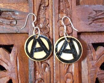 """1"""" Anarchy Earrings - Wood Burned Earrings, Pyrography Art, Wood Earrings, Anarchy"""