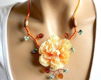 Orange necklace branch floral beads