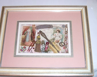Shadow Box with Antique Jewelry and Trinkets