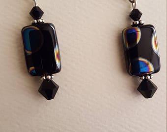 Peacock and Swarovski Crystal Bead Earrings