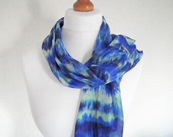 Hand-dyed Silk Scarf, Shibori Dyed Silk, Long Silk Scarf, Silk Habotai Scarf, Blue, Midnight Blue, Green, OOAK Scarf, UK Seller