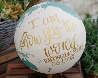 Wedding Globe, Custom Wedding Guest Globe, Wedding Guest Globe, Wedding Guestbook, Custom Globe , Painted Globe, I can show you the world