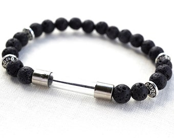 Raw Stone Bracelet  Wearable Tech Electronic Fuse Steampunk Bracelet Computer Bracelet Men Bracelet Black Lava Stone String of Asteroids