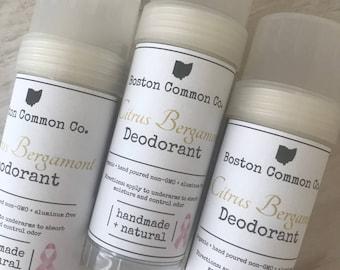 Citrus Bergamot Organic all natural hand poured deodorant / natural antiperspirant / Organic deodorant / aluminum free deodorant / 2 oz