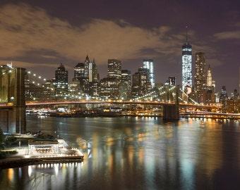 NYC Skyline Photograph - New York City Night - Landscape Print - Brooklyn Bridge, World Trade Center, Manhattan, New York Panorama