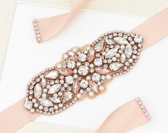 Rose Gold Belt, Crystal Peach Pink Belt, Sash Belt, Bridal Belt, Flower Girl Belt, Dress Belt, Wedding Sash, Peach Pink Sash Belt B136.1
