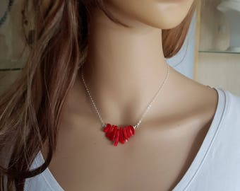 Red Coral necklace Sterling Silver RED Coral branch necklace coral choker red necklace red Coral jewellery Chakra jewelry healing gift