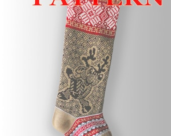 PDF for Santa Stockings/Christmas Stocking/ Fair Isle knitting instruction / Christmas Reindeer / PDF Knitting Pattern – A 17